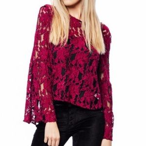 Cupcakes & Cashmere Florent Lace Bell Sleeve Top